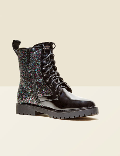 Black sparkly rock-inspired ankle boots