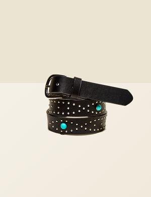 ceinture à clous et pierres noire
