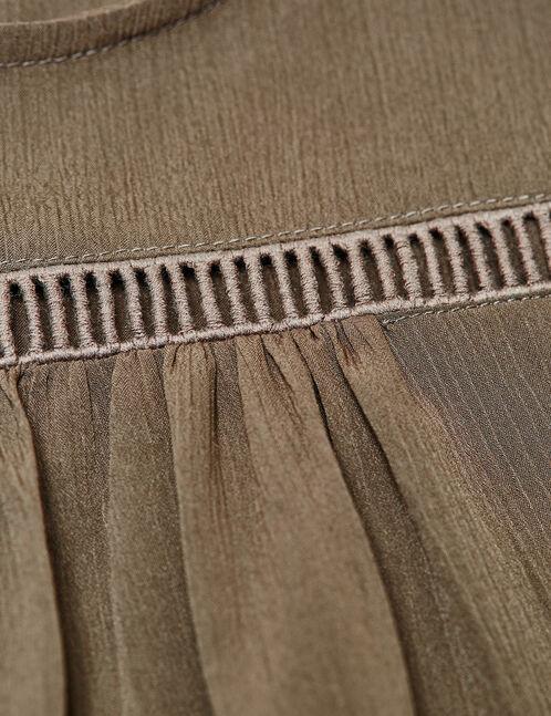 blouse évasée avec macramé kaki