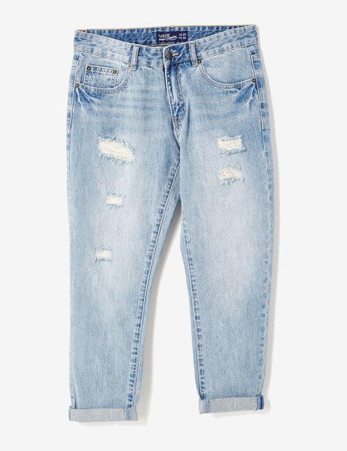 Medium blue distressed boyfriend jeans