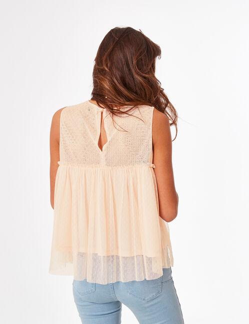 Light pink dobby spot-effect blouse