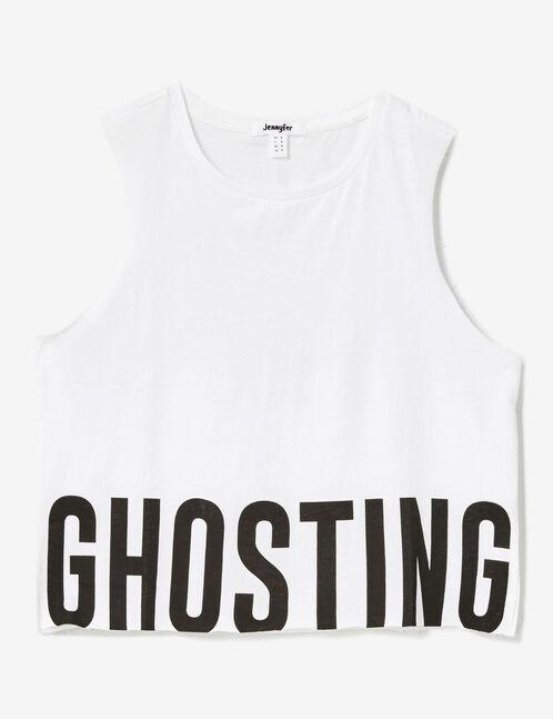 "White ""ghosting"" tank top"