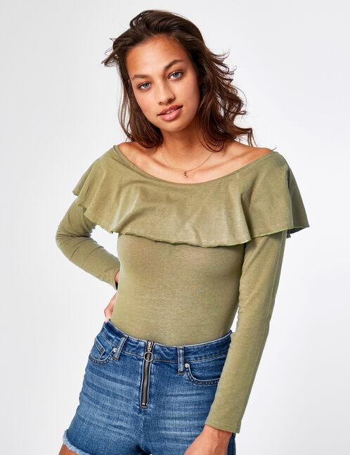 Khaki off-the-shoulder bodysuit
