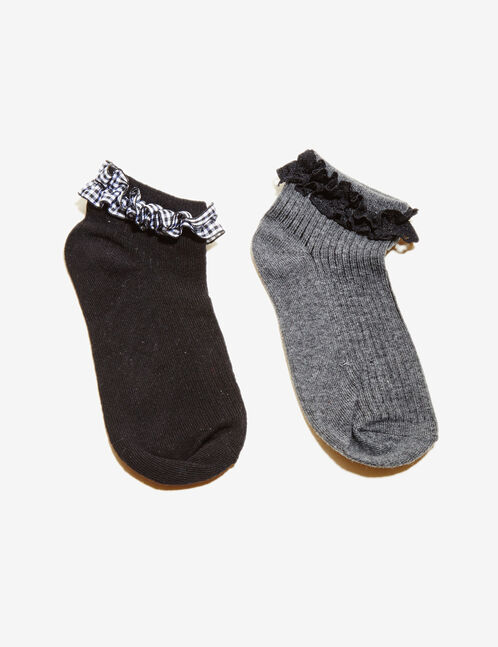 Charcoal grey and black ankle detail socks