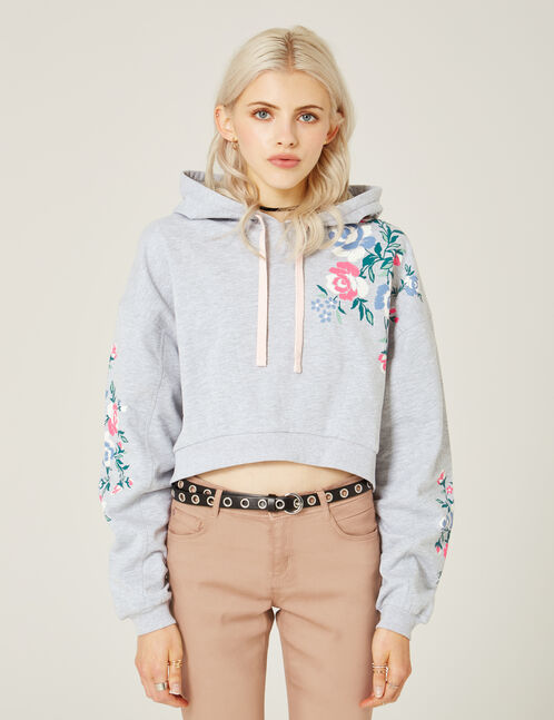 Cropped grey marl floral hoodie
