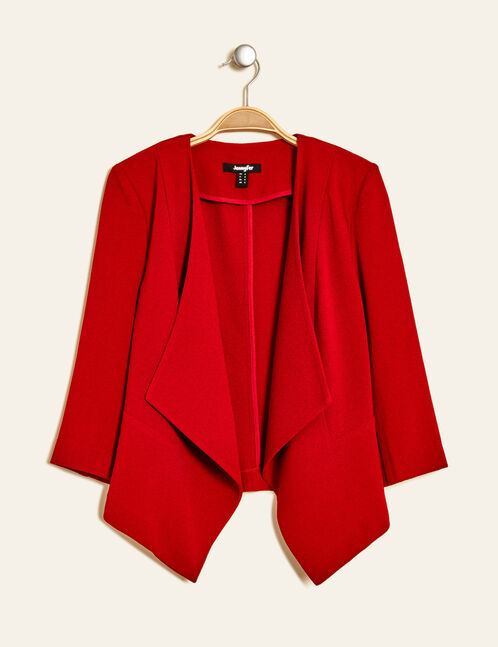 Red crêpe open-front jacket