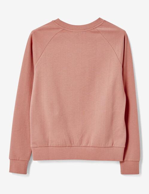 Light pink sweatshirt with text design detail