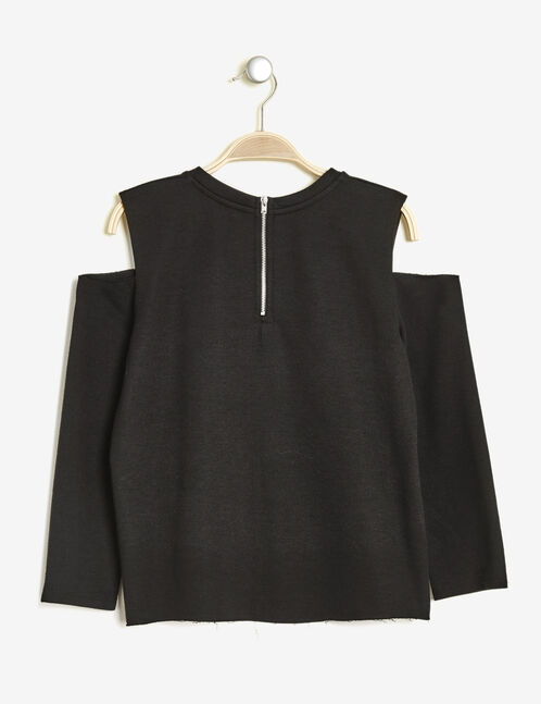 Black sweatshirt with cut-out shoulders