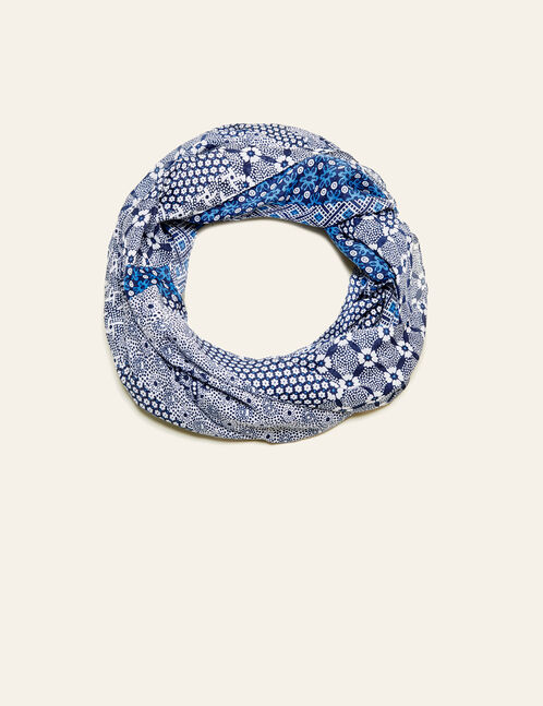 Cream and blue printed snood