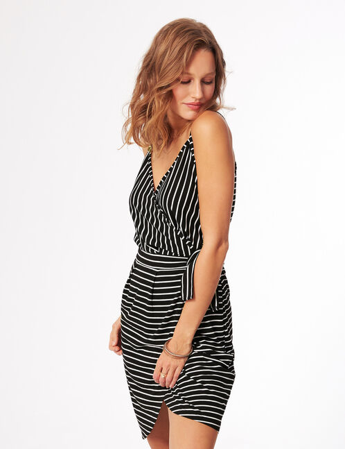Black and white striped wrap dress