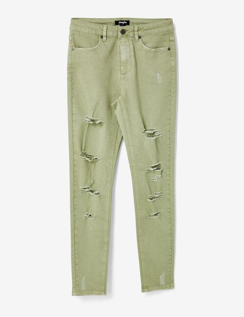 pantalon skinny destroy vert clair