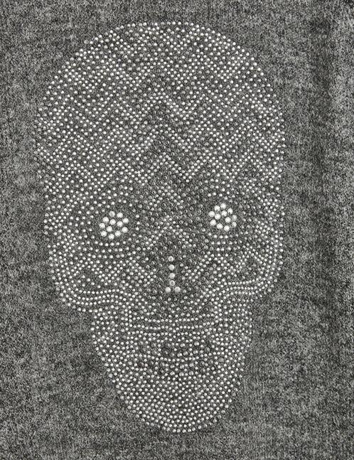 pull motif tête de mort gris chiné