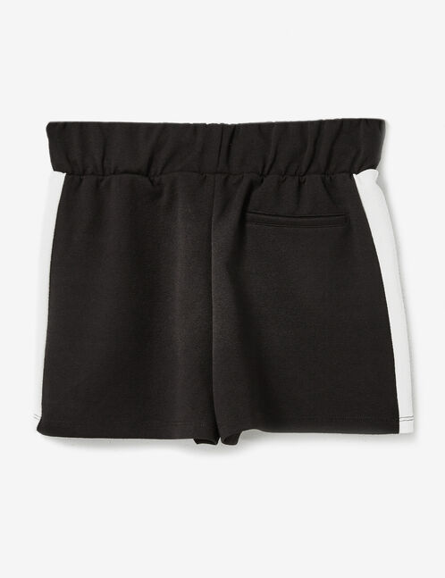 Black and white shorts with side stripe detail