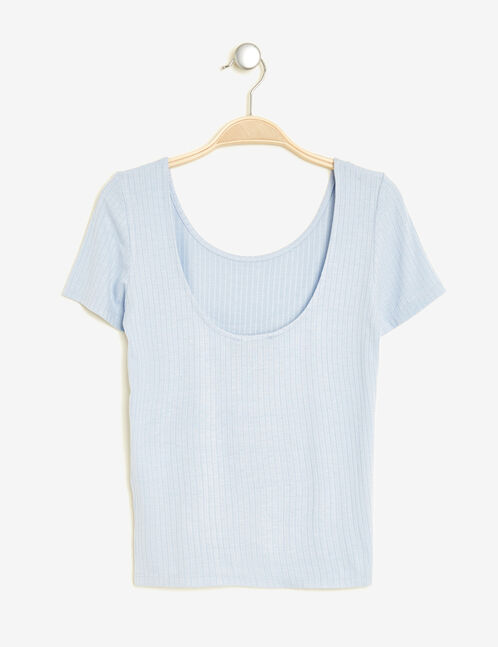 Short pastel blue top with scoop back