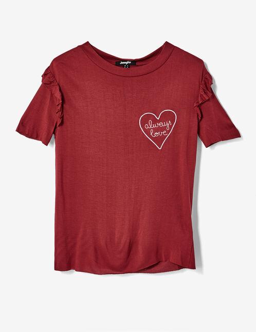 tee-shirt brodé bordeaux