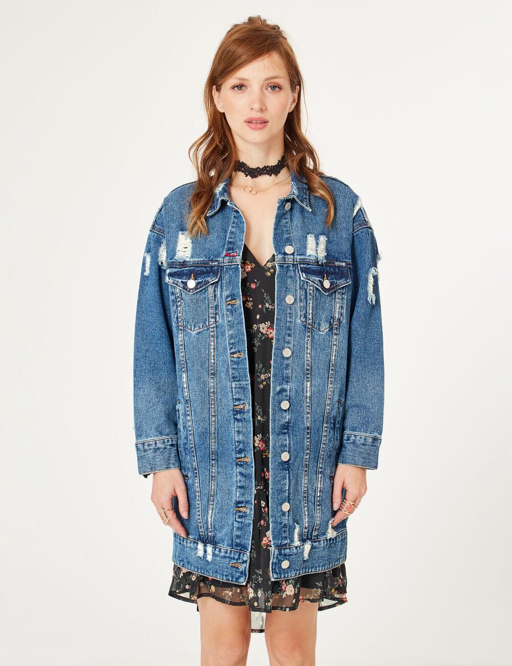 veste longue en jean medium blue femme jennyfer. Black Bedroom Furniture Sets. Home Design Ideas