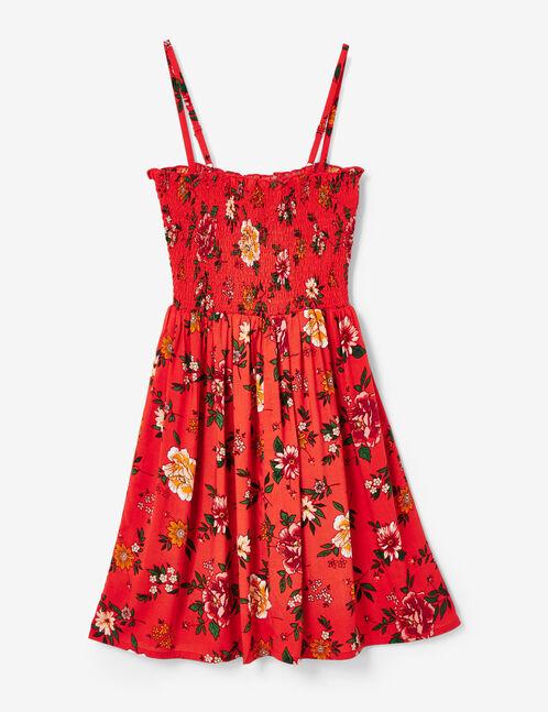 Red smocked floral dress