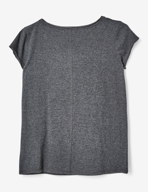 "Charcoal grey marl ""feminist"" T-shirt"