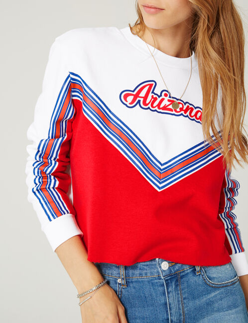 sweat bicolore blanc et rouge