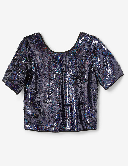 Blue sequined blouse