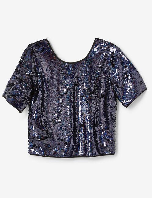 blouse sequins bleu