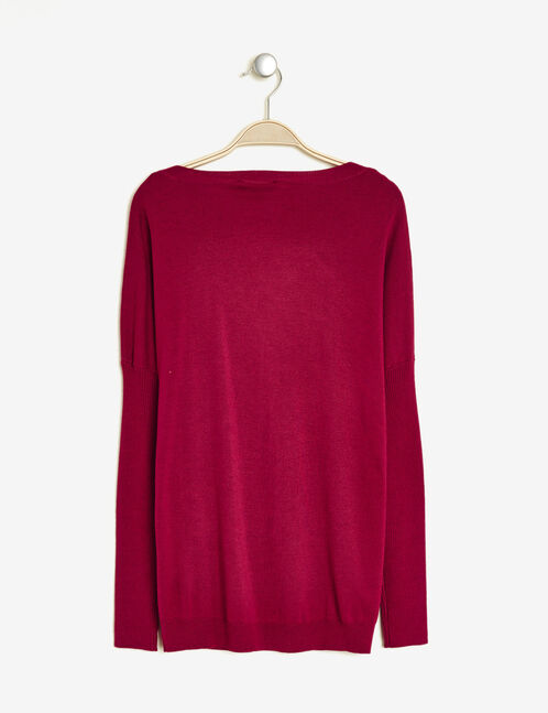 pull loose manches côtelées framboise