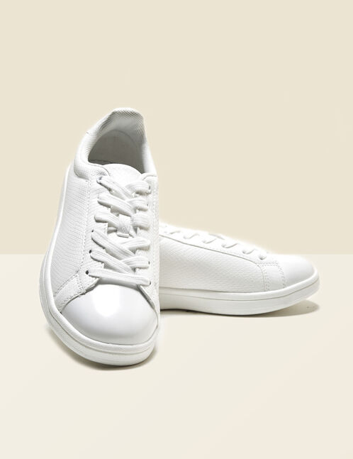 White mixed fabric trainers