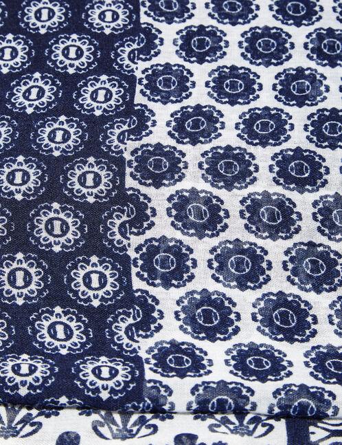 tour de cou imprimé bleu marine et écru