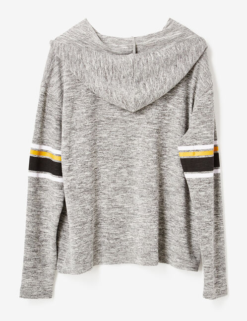 tee-shirt à capuche gris chiné