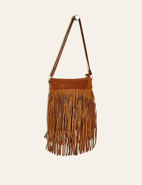 Camel fringed handbag