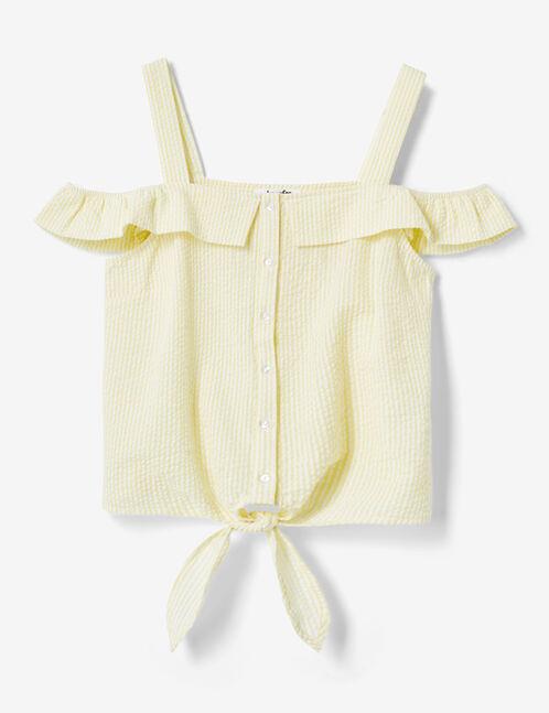 blouse rayée à nouer jaune clair et écrue
