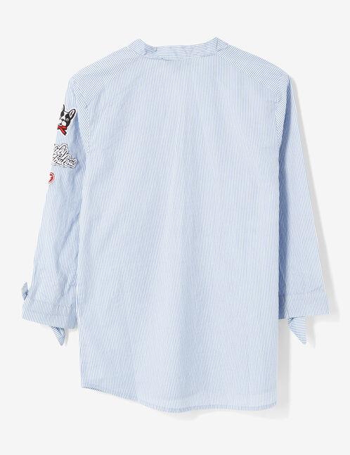chemise rayée avec patchs bleu clair et blanc