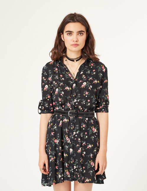 Black flared shirt dress