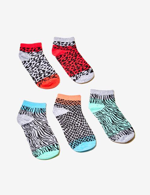 chaussettes imprimé animal multicolore