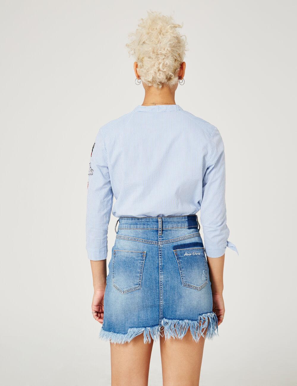 chemise ray e avec patchs bleu clair et blanc femme jennyfer. Black Bedroom Furniture Sets. Home Design Ideas