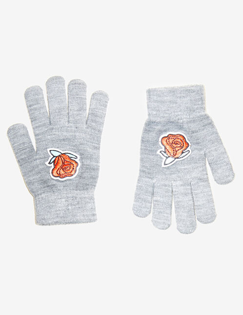 Grey marl gloves with patch detail
