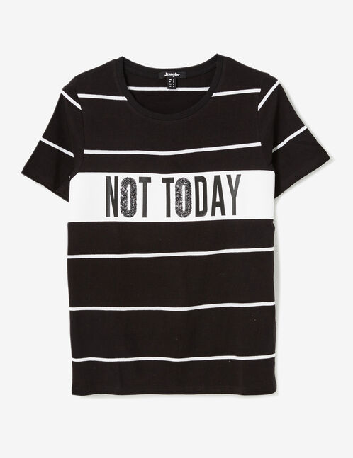 Black striped T-shirt with sequin detail