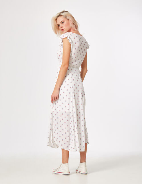robe longue boutonnée écru