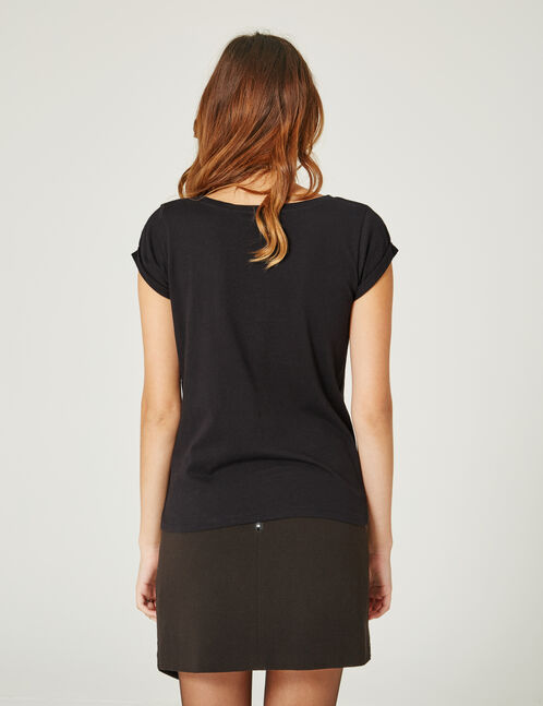 Black asymmetric skirt with eyelet detail