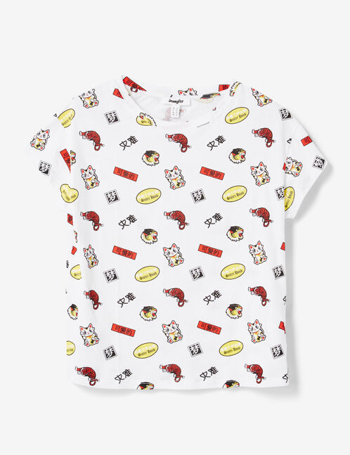 tee-shirt mix d'imprimés blanc