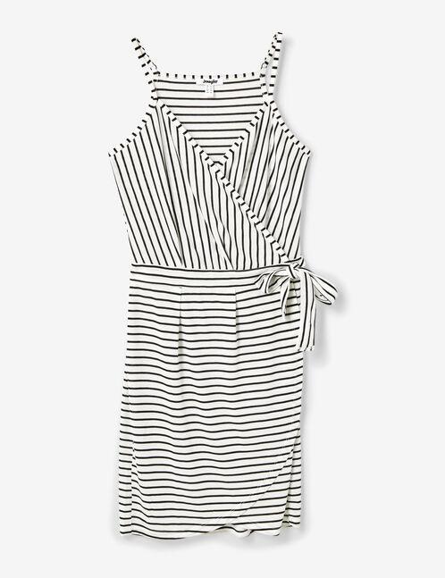 robe portefeuille rayée blanche et noire