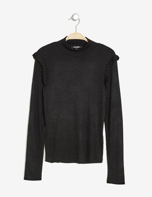 Ribbed T-shirt with black frills