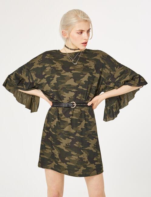 Khaki camouflage T-shirt dress