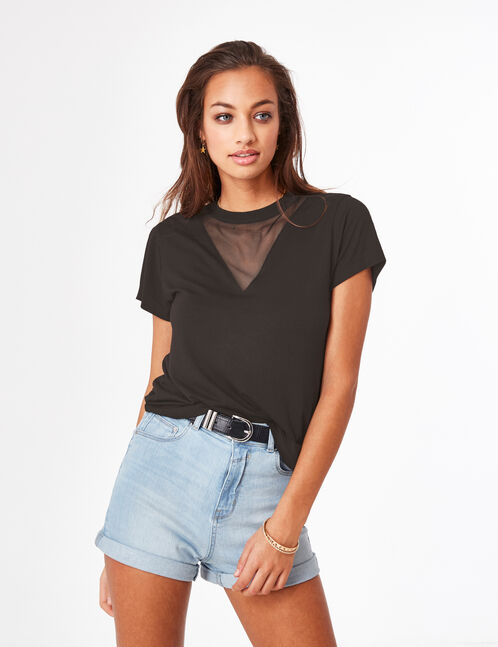 Black mixed fabric T-shirt