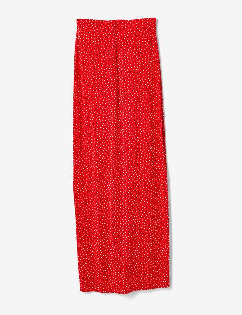 jupe à pois boutonnée rouge