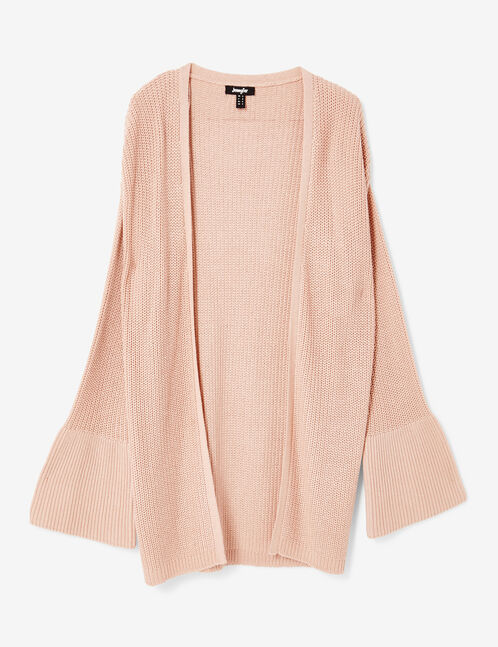 Light pink open cardigan with pagoda sleeves