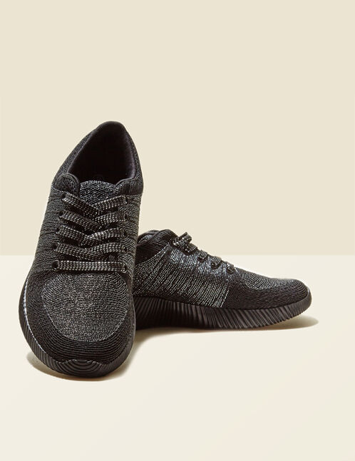 Black trainers with lurex detail