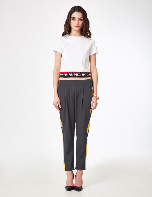 Charcoal grey pleated tailored trousers