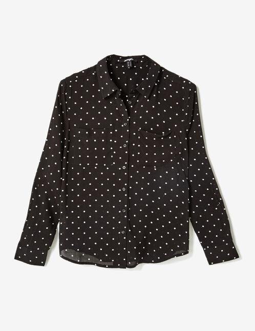 chemise à pois noire et blanche