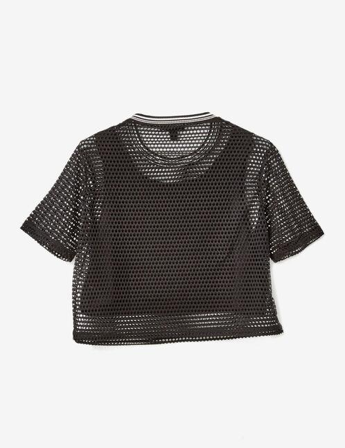 Black mix-fabric fitness top